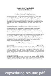 Sandra Mardenfeld copyediting resume