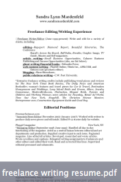Sandra Mardenfeld Freelance Writing Resume  Freelance Writer Resume
