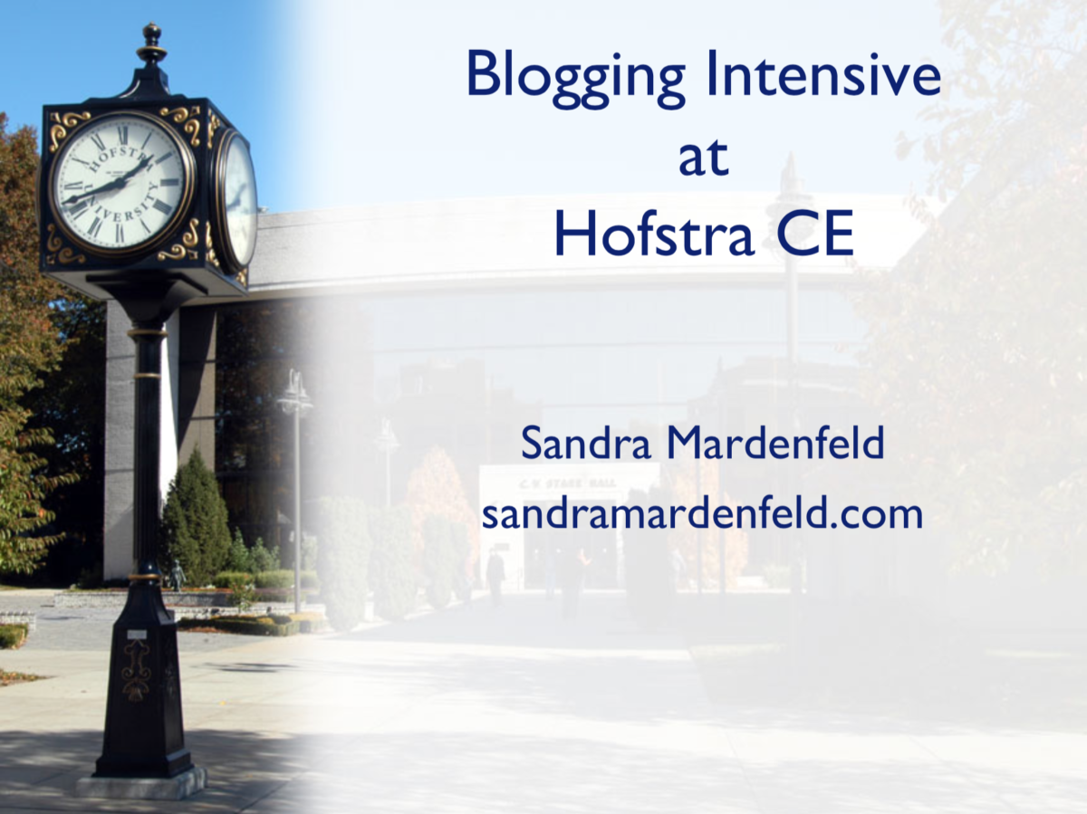 Blogging Intensive at Hofstra CE